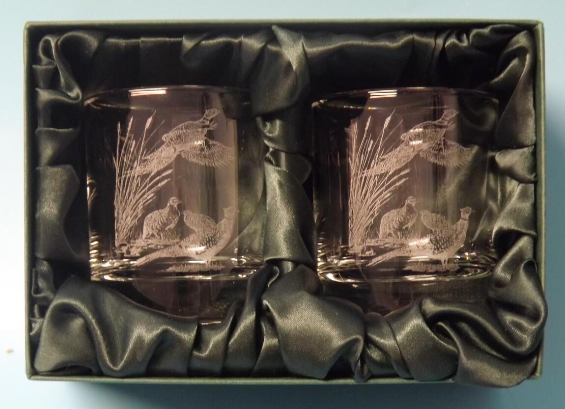 Engraved Whisky Glasses x 2