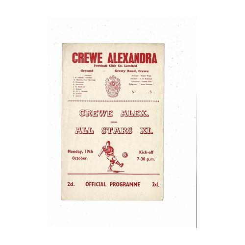 Crewe Alexandra v All Stars X1 Friendly Football Programme 1959/60