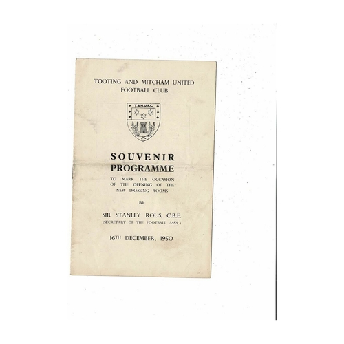 Tooting & Mitcham United v Redhill Friendly Football Programme 1950/51