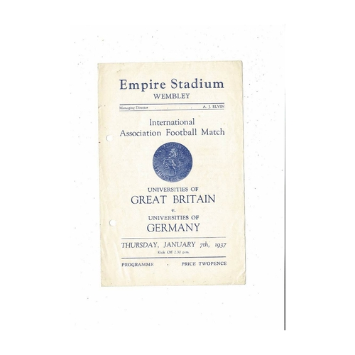 Universities of Great Britain v Germany Universities Football Programme 1936/37