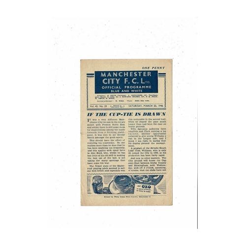 1945/46 Manchester City v Leeds United Football Programme