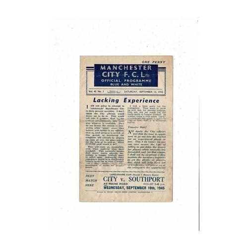 1945/46 Manchester City v Stoke City Football Programme