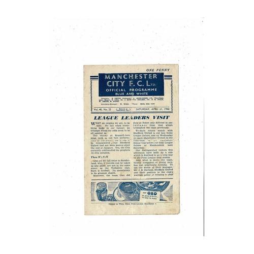 1945/46 Manchester City v Sheffield United Football Programme