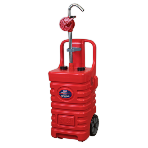 55ltr Mobile Dispensing Tank with Oil Rotary Pump - Red - Sealey - DT55RCOMBO1
