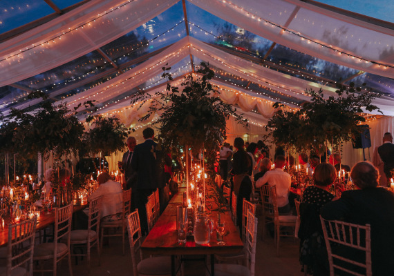 Inside the wedding marquee at Hamswell House