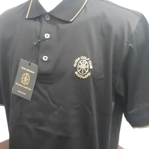 Marbas Alghero Fancy Short Sleeve Polo Black/Gold