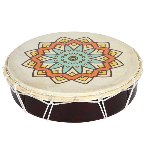 Large Patterned Shamanic Drum