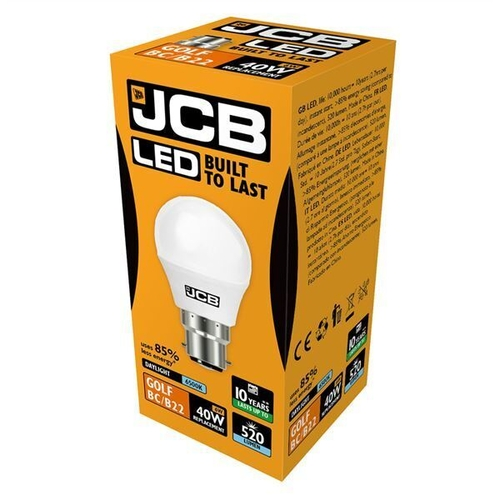 JCB LED GOLF 520lm OPAL B22 (BC) 6500K, PACK OF 1 - JCB - S10970