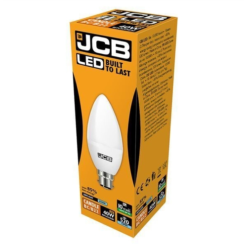 JCB LED CANDLE 470lm OPAL B22 (BC) 6500K, PACK OF 1 - JCB - S10979