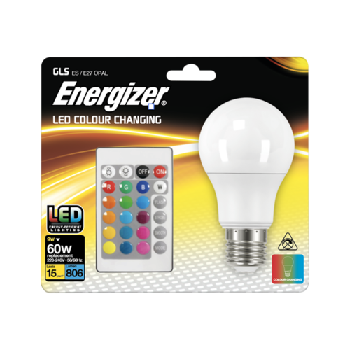 ENERGIZER COLOUR CHANGING E27 GLS LED RGB+W WITH REMOTE CONTROL - Energizer - S14542