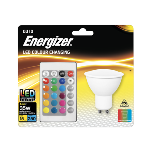 ENERGIZER COLOUR CHANGING GU10 LED RGB+W WITH REMOTE CONTROL - Energizer - S14544
