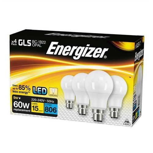 ENERGIZER LED GLS 806LM 9W OPAL B22 (BC) WARM WHITE, PACK OF 4 - Energizer - S14056