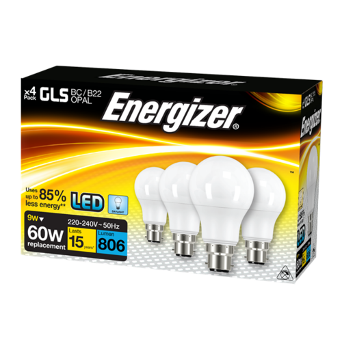 ENERGIZER LED GLS 806LM 9.2W OPAL B22 (BC) DAYLIGHT, PACK OF 4 - Energizer - S14062