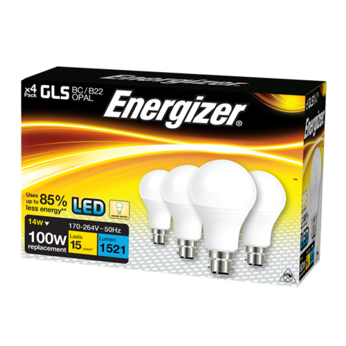 ENERGIZER LED GLS 1521LM 14W OPAL B22 (BC) WARM WHITE, PACK OF 4 - Energizer - S14423