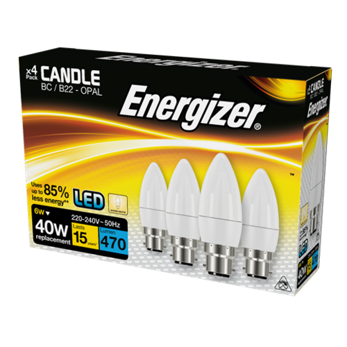 ENERGIZER LED CANDLE 470LM 6W OPAL B22 (BC) WARM WHITE, PACK OF 4 - Energizer - S14331