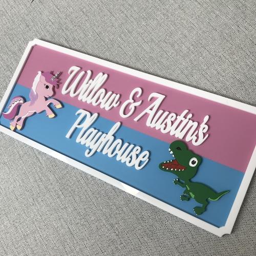 Large Dinosaur & unicorn indoor sign