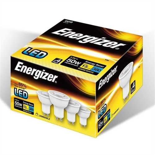 ENERGIZER LED GU10 380LM 5.2W WARM WHITE DIMMABLE, PACK OF 4 - Energizer - S10327