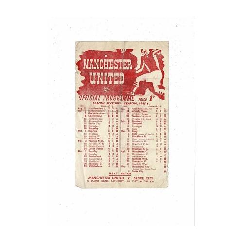 1945/46 Manchester United v Manchester City Lancs Cup Semi Final Programme