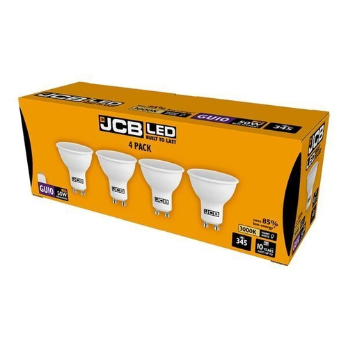 JCB LED GU10 345lm 3000K, PACK OF 4 - S15147