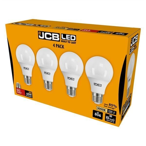 JCB LED GLS 806lm 8.2W E27 (ES) 3000K, PACK OF 4 - S15144