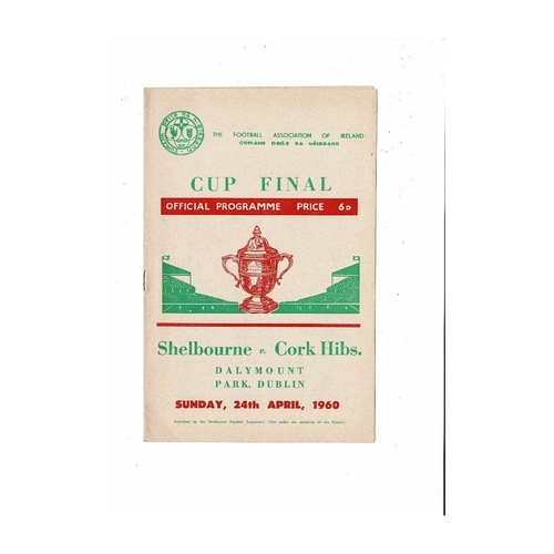 1960 Shelbourne v Cork Hibernians FAI Cup Final Football Programme