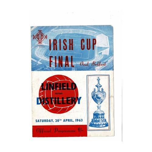 1963 Linfield v Distillery Irish Cup Final Football Programme