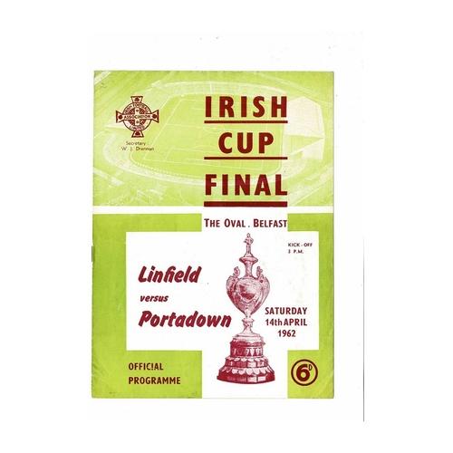 1962 Linfield v Portadown Irish Cup Final Football Programme