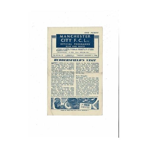 1945/46 Manchester City v Huddersfield Town Football Programme