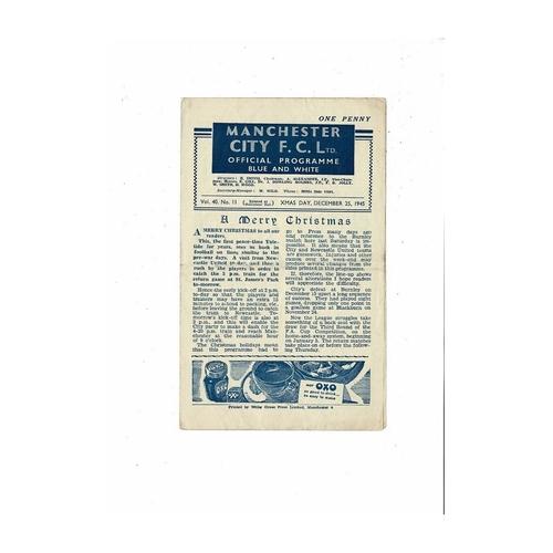 1945/46 Manchester City v Newcastle United Football Programme