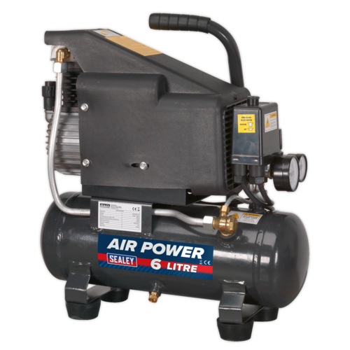 Compressor 6L Direct Drive 1hp - Sealey - SAC0610E