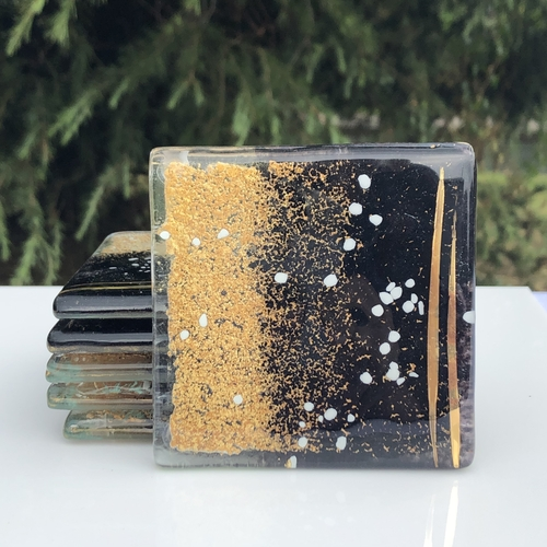 Black and Gold Coaster (Square)