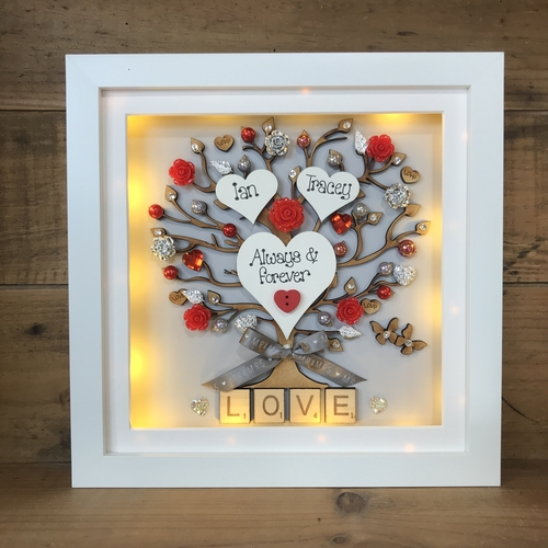 LED floral love frame