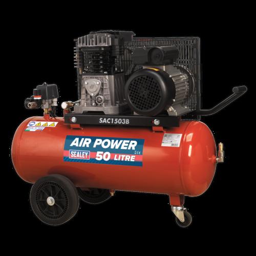 Compressor 50L Belt Drive 3hp with Cast Cylinders & Wheels - Sealey - SAC1503B