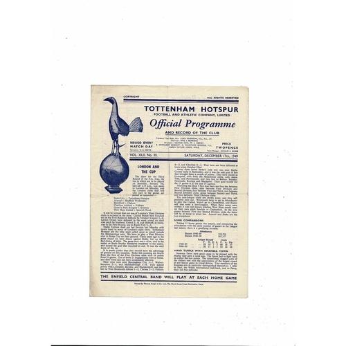 1949/50 Tottenham Hotspur v Brentford Football Programme