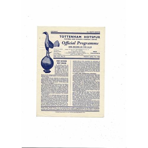 1949/50 Tottenham Hotspur v Hull City Football Programme