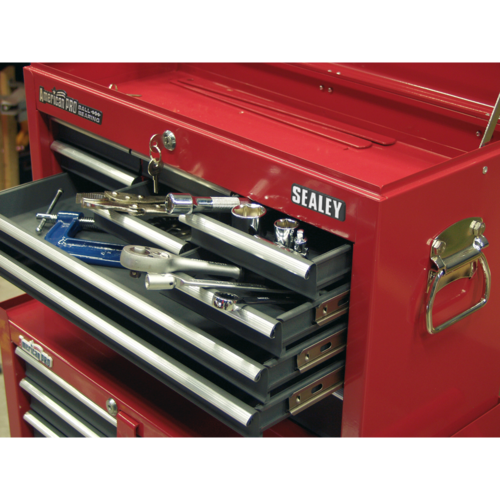 Topchest 9 Drawer with Ball Bearing Slides - Red/Grey - Sealey - AP22509BB