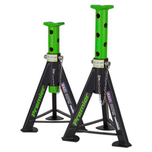 Axle Stands (Pair) 6tonne Capacity per Stand - Green - Sealey - AS6G