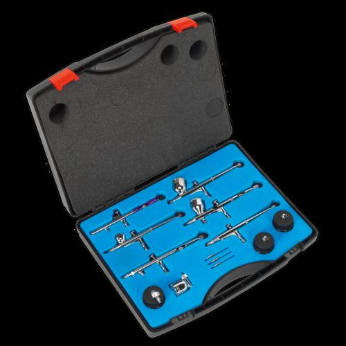 Air Brush Kit 10pc Gravity/Suction Feed - Sealey - AB936