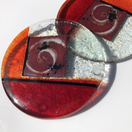 Mediterranean Red and Orange Coasters (Round)