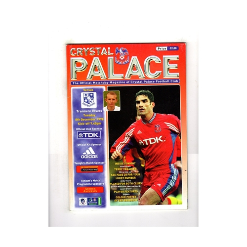 1998/99 Crystal Palace v Tranmere Rovers Football Programme + Poster