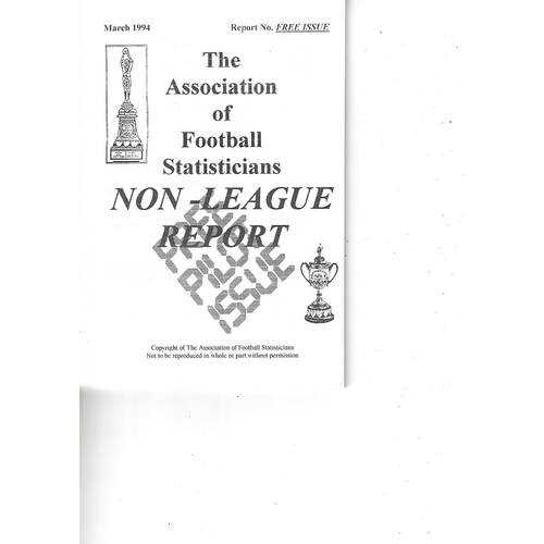 The Association of Football Statisticians Non League Report March 1994