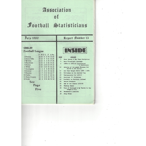 The Association of Football Statisticians Report No. 13