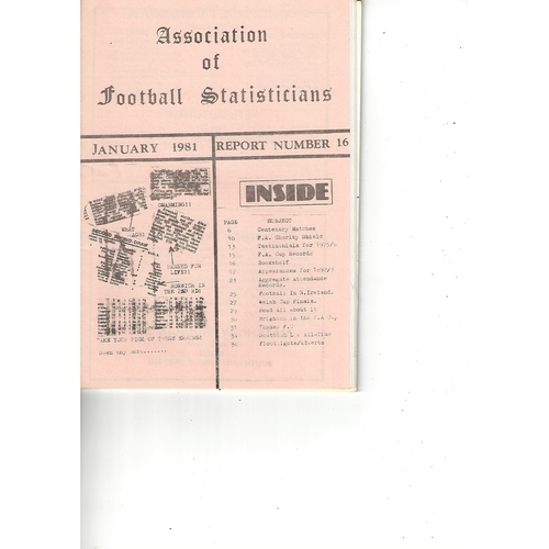 The Association of Football Statisticians Report No. 16