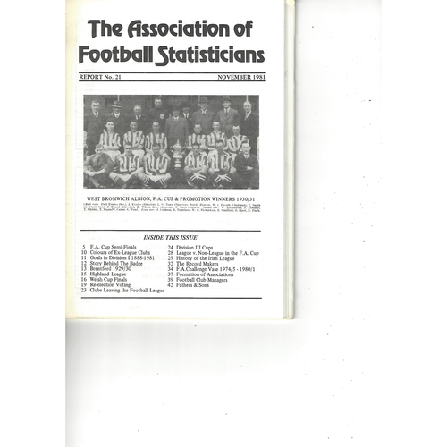 The Association of Football Statisticians Report No. 21