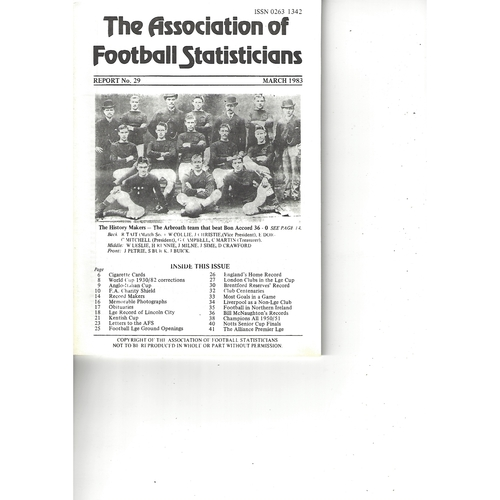 The Association of Football Statisticians Report No. 29