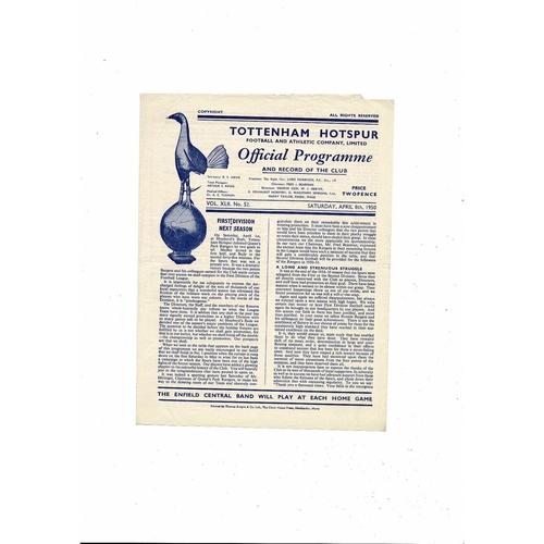 1949/50 Tottenham Hotspur v Preston Football Programme