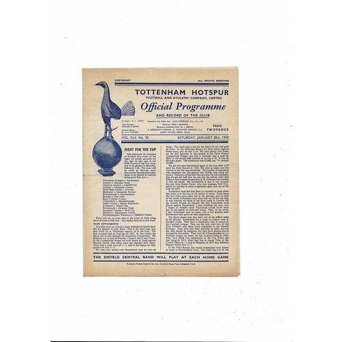 1949/50 Tottenham Hotspur v Sunderland FA Cup Football Programme