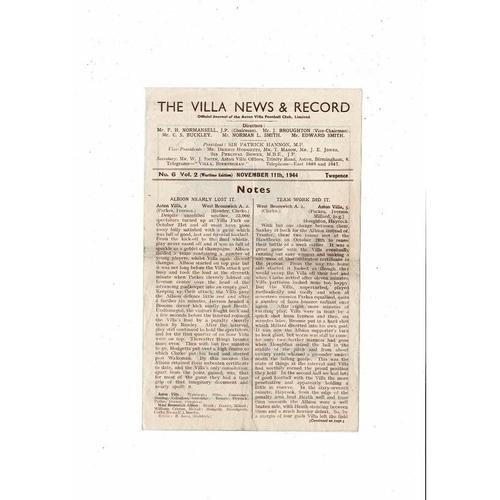 1944/45 Aston Villa v Port Vale Football Programme