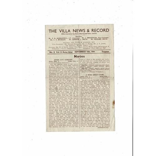 1944/45 Aston Villa v Wolves Football Programme Sept