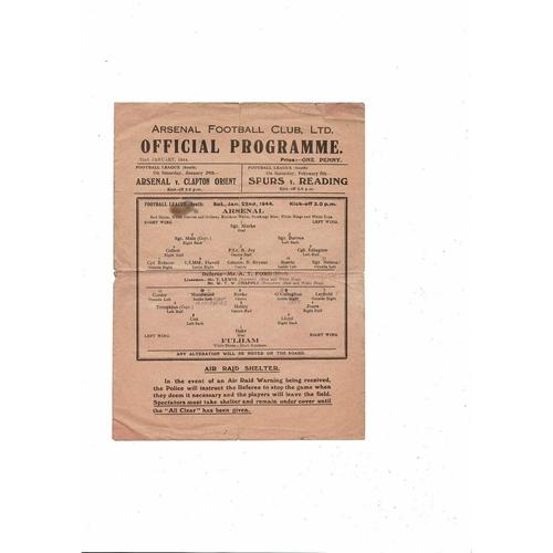 1943/44 Arsenal v Fulham Football Programme